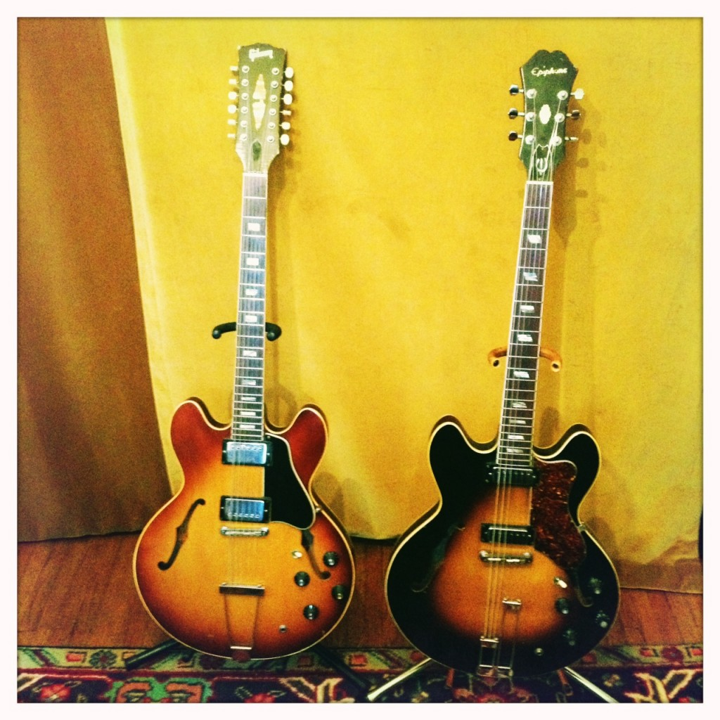 Our faithful friends: 12 String Gibson and 6 string Epiphone